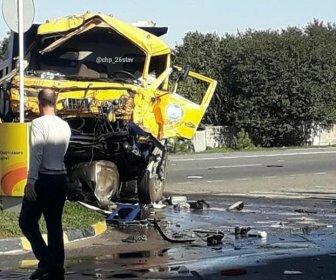 Цистерна, «КамАЗ» и легковушка устроили ДТП в Ставрополье