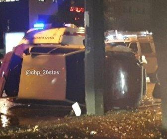 ДТП в Ставрополе: легковушка перевернулась, парализовав улицу Ленина